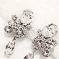 花嫁のイヤリング 大きめ 結婚式用 スワロフスキークリスタル使用